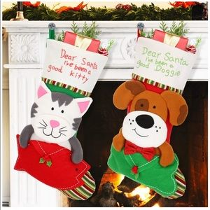"NEW 2 Pack 18"" Christmas Dog and Cat Stockings"